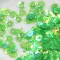 Sequins, Bright green, Diameter 6mm, 400 pieces, 5g, Faceted Discs, Sequins are shiny, [CZP489]